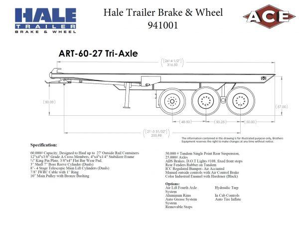 Ace Hale Trailer & Brake Stock Roll off Trailer 27' Tri-Axle
