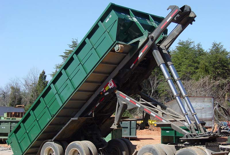 short roll-off trailer tipping